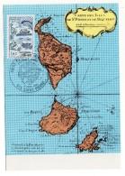 CARTE MAXIMUM - SAINT-PIERRE-ET-MIQUELON - CARTE DES ISLES - TAMPON PREMIER JOUR A SAINT-PIERRE - 1982 - - Cartes-maximum