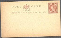 NATAL, 1885 ½d Brown Postcard Unused, Fine - Zuid-Afrika (...-1961)
