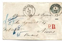 Sac026 / Mi.Nr. 19, Sauber Gezähnt, Aals EF Nach Frankreich 1864 Via Strassburg Taxiert - Sachsen