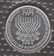 GERMANIA 5 DEUTSCHE MARK 1974 25 JAHRE GRUNDGESETZ DER BUNDESREPUBLIK AG SILVER - [10] Commemorative