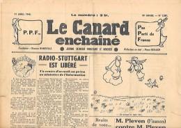 """11 Avril 1945 - """"LE CANARD ENCHAÎNÉ"""" Journal Satirique - - Documents Historiques"""