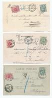994/23 -- 3 Carte-Vues TP Blanc 5 C Taxées En Belgique 10 C  - Vues De ORCHIES , ARCACHON Et PARIS - 1900-29 Blanc