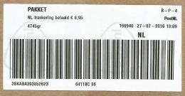 Netherlands Nederland 2016 Pakket Post Office Meter Franking Barcoded Label Domestic Parcel Almost 5 Kg - Marcofilie - EMA (Print Machine)