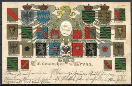 Germany Coats Of Arms / Ein Deutscher Gruss Postcard - Other