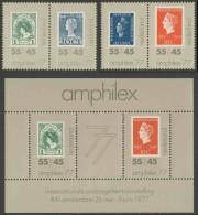Nederland Netherlands Pays Bas 1977 Mi 1101 /2 + 1103 /4 + B16 ** AMPHILEX 77 - Queen Wilhelmina On Stamps - Periode 1949-1980 (Juliana)