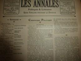 1904 Les ANNALES : Pasteur; Alpinisme Au Mont-Blanc; CERVIN; Les Chiens CHOW-CHOW; Etc - Zeitungen