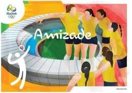 Brazil 2016: Postcard Olympic Games Rio 2016. Volleyball, Friendship, Staduim Maracana, Logo - Eté 2016: Rio De Janeiro