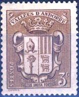 49   ARMOIRIE Des VALLEES 3C Brun  NEUF Sans GOMME+charniere  ANNEE 1932/1933 - Andorre Français