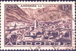 132 ANDORRE La VIEILLE 15F BRUN LILAS  OBLITERE  ANNEE 1939/1945