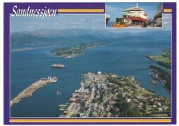 Sandnessjoen Norway, Harbor Scene Ferry Aerial View Of Town And Harbor, C1980s Vintage Postcard - Norvège