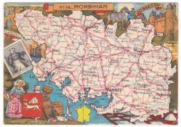 Morbihan Map Of Region France, Vannes Pontivy, Ploermel Lorient Etc. C1940s/50s Vintage Postcard - Bretagne