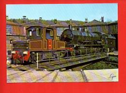 """Chemin De Fer - Train - Le T104. Locotracteur """"Schneider"""" De 1928 Sur Le Pont Tounant De L'Ajecta à Longueville - Trains"""
