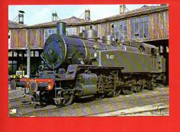 Chemin De Fer - Train - Locomotive Ex Banlieue De Paris Est 141 TB 407 De 1913- Dépôt D'Ajecta à Longueville - Trains