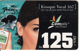 MAURITIUS ISL. - Girl With Mobile Phone, Complis By Cellplus Prepaid Card Rs 125(matt Surface), Exp.date 30/06/08, Used - Mauritius