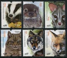 Portugal 2016 Mammalian Predators Fox Wolf Otter 6v MNH - Félins