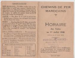 Chemins De Fer Marocain - Horaire Des Trains 1er Juillet 1948 - - Mondo