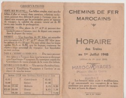 Chemins De Fer Marocain - Horaire Des Trains 1er Juillet 1948 - - World