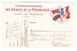Carte En Franchise Militaire - 7 B - Parenthèse Après Réponse Entre à Et Reproduire Deuxième Ligne Sous R De Porter - Marcofilie (Brieven)