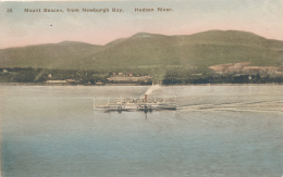 Mount Beacon, From Newburgh Bay. Hudson River.  - With Steamer  ALBANY, - By Albertype Co. - HAND-COLORED - Paquebots