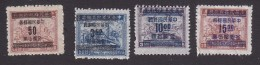 China, Scott #913, 917, 919-920, Mint Hinged, Plane, Train And Ship Surcharged, Issued 1949 - China