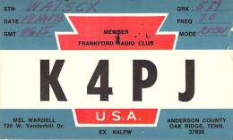 Amateur Radio QSL - K4PJ - Oak Ridge, TN -USA- 1973 - 2 Scans - Radio Amateur