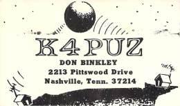 Amateur Radio QSL - K4PUZ - Nashville, TN -USA- 1973 - 2 Scans - Radio Amateur