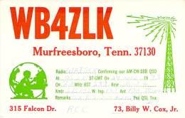 Amateur Radio QSL - WB4ZLK - Murfreesboro, TN -USA- 1973 - 2 Scans - Radio Amateur