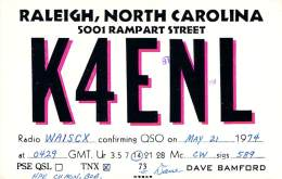 Amateur Radio QSL - K4ENL - Raleigh, NC -USA- 1974 - 2 Scans - Radio Amateur