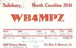 Amateur Radio QSL - WB4MPZ - Salisbury, NC -USA- 1975 - 2 Scans - Radio Amateur