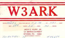 Amateur Radio QSL - W3ARK - Stowe, PA -USA- 1974 - 2 Scans - Radio Amateur
