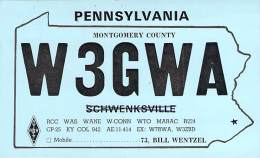 Amateur Radio QSL - W3GWA - Perkiomenville, PA -USA- 1973 - 2 Scans - Radio Amateur