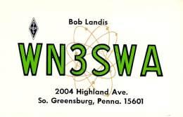 Amateur Radio QSL - WN3SWA - South Greensburg, PA -USA- 1974 - 2 Scans - Radio Amateur