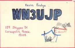 Amateur Radio QSL - WN3UJP - Coraopolis, PA -USA- 1974 - 2 Scans - Radio Amateur