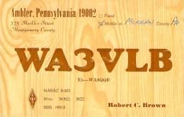 Amateur Radio QSL - WA3VLB - Ambler, PA -USA- 1974 - 2 Scans - Radio Amateur
