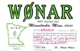 Amateur Radio QSL - W0NAR - Minnetonka, MN -USA- 1974 - 2 Scans - Radio Amateur