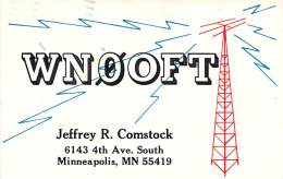 Amateur Radio QSL - WN0OFT - Minneapolis, MN -USA- 1975 - 2 Scans - Radio Amateur