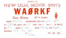 Amateur Radio QSL - WA0RKF - New Ulm, MN -USA- 1974 - 2 Scans - Radio Amateur