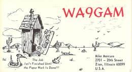 Amateur Radio QSL - WA9GAM - Zion, IL -USA- 1974 - 2 Scans - Radio Amateur