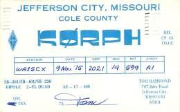 Amateur Radio QSL - K0RPH - Jefferson City, MO -USA- 1975 - 2 Scans - Radio Amateur