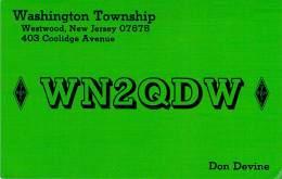 Amateur Radio QSL - WN2QDW - Washington Township, Westwood, NJ -USA- 1974 - 2 Scans - Radio Amateur