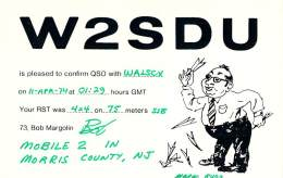 Amateur Radio QSL - W2SDU/M Mobile In Morris County NJ -USA- 1974 - 2 Scans - Radio Amateur