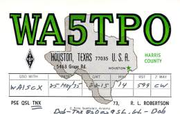 Amateur Radio QSL - WA5TPO - Houston, TX -USA- 1975 - Radio Amateur