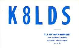 Amateur Radio QSL - K8LDS - Dayton, OH -USA- 1974 - 2 Scans - Radio Amateur