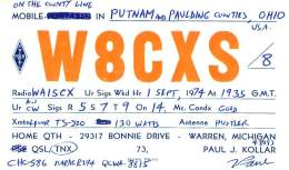 Amateur Radio QSL - W8CXS/8 In Putnam & Paulding Counties OH -USA- 1974 - 2 Scans - Radio Amateur