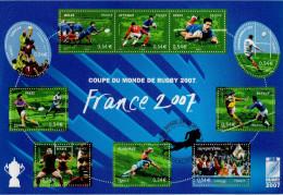 """(Faciale = 5.40 €) FRANCE 2007 : Notice Officielle 1er Jour """" COUPE DU MONDE DE RUGBY """". N° YT BF 110. Parfait état"""