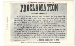 MILITARIA Lunéville  PROCLAMATION   Du Général Allemand Guerre 1914 - 1918 - Luneville