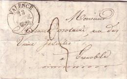DROME - VALENCE - LE BOURG LES VALENCE LE 12 FEVRIER 1835 - LETTRE AVEC TEXTE POUR GRENOBLE. - Marcophilie (Lettres)