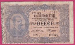 10 LIRE 29-07-1918 UMBERTO I, N°3013, Giu.Dell'Ara / Porena - [ 1] …-1946 : Kingdom