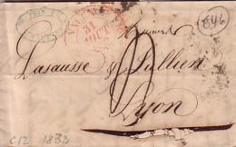 DROME - VALENCE - LE 31 AOUT 1832- T12 EN ROUGE - LETTRE AVEC TEXTE POUR LYON. - Marcophilie (Lettres)