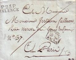 DROME - P.25P. VALENCE - SANS TEXTE NI DATE - ENTRE 1802 ET 1831 - SUPERBE FRAPPE - COTE 65€. - Marcophilie (Lettres)
